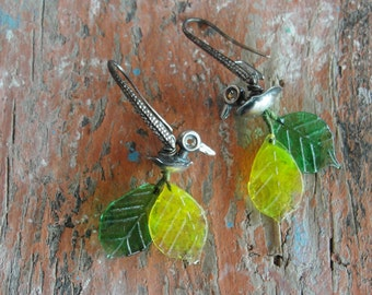 Sterling Silver Duck Earrings - Oregon Ducks, Vintage Glass Leaves Yellow and Green