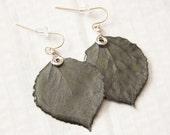 Gunmetal Aspen Leaf Earrings, Bridesmaid Earrings, Nature Jewelry