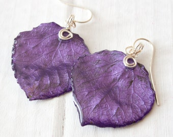 Amythest Aspen Leaf Earrings, Bridesmaid Jewelry, Nature Jewelry