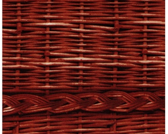 HALF YARD - Photo Realistic Dark Brown Basket Weave with Braid, Oxford Cotton - Cosmo Textiles, Japanese Import