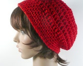 Slouchy Beanie in Scarlet Red - Crocheted Hat