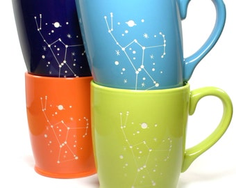 4 Orion Constellation Mugs - Sky Blue, Navy Blue, Green & Orange microwave-safe coffee cups