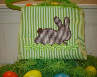 Lime and white Stripe Easter Tote