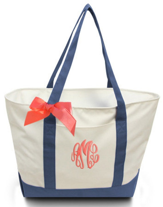 personalized giant boat tote with ribbon bow extra large