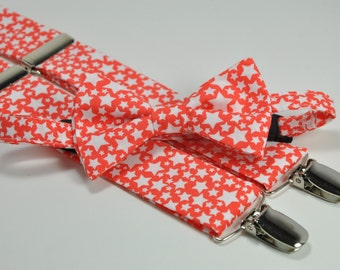 Boy's Bow Tie and Suspender Set - Coral Stars - Children's Bowtie and Suspenders - Wedding Bow Tie
