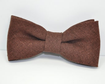 Brown Linen Boy's Bow Tie, Chocolate Brown Bow Tie, Linen Bowtie, Ring Bearer Bow Tie, Baby Tie, Toddler Bowtie