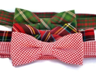 Boy's Christmas Bow Ties, Toddler Ties, Holiday Bowties, Plaid Bow Ties