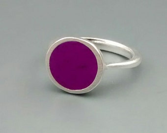 Opaque Royal Purple and Sterling Silver Ring
