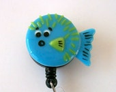 Fused Glass Blowfish Badge Holder (blue)