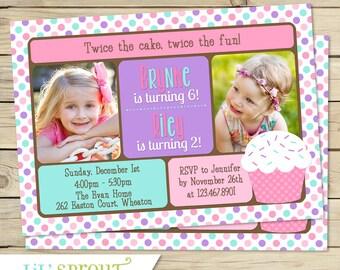 Double Birthday Invitation - Pink Cupcake