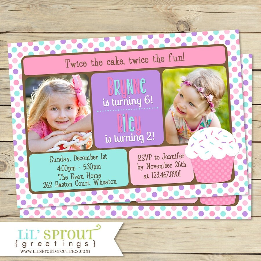 DOUBLE BIRTHDAY Invitation Pink Cupcake Sisters Birthday