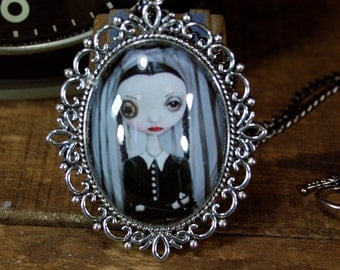 Steampunk Pop Surrealism Lowbrow Wednesday Addams Family Necklace