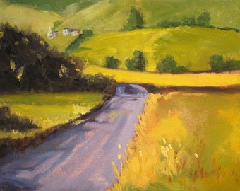 Western Landscape, Oil Painting, Original 8x10, Canvas, Green Gold, Small, Summer, Rural Scene, Country Road, Yellow Fields, Wall Decor