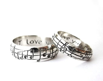 Custom Music Note Wedding Bands - Original Real Music Notes Ring, Sterling Music Ring, Sheet Music Nerd Wedding Rings, Geekery, Personalize