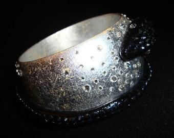 Snake - Silver Metal Leaf Gothic Steampunk Wooden Bracelet With Swarovski Crystals