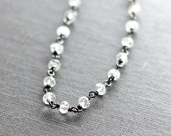 White Topaz Bracelet, Oxidized Silver, Beaded Bracelet
