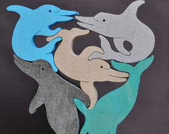 Dolphin Pod  Animal Puzzle Wooden Toy Hand  Cut with Scroll Saw