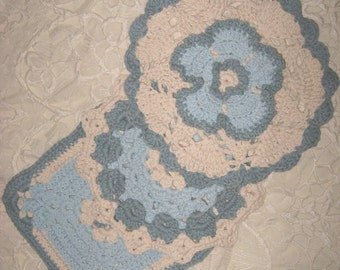 """The """"Company Dishcloth""""  Set of Three in Light Blue, Colonial Blue and Ivory"""