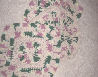 """The """"Company Dishcloth""""  Hand Crocheted in Ivory, Rose and Green  Cotton Set of Three"""