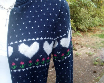 80s novelty sweater / vintage hearts cardigan sweater / 80s kitsch sweater