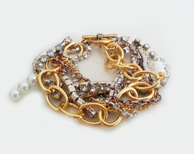 Chunky Rhinestone Bracelet Gold Chunky Cuff Statement Wedding Bracelet Pearl Modern Vintage Style Wedding Jewellery Bridesmaids Bracelets
