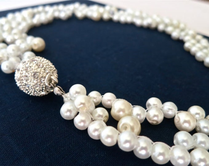 Vintage Inspired Pearl Wedding Necklace with 2 Strands and Rhinestone Clasp
