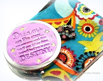 Dreams & Destiny Compact Mirror*Magnifying Purse Mirror W/Pouch* Mixed Media Doll Face* One-of-a-Kind