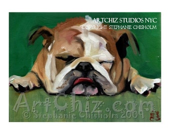 English Bull Dog Art. Rest for the Weary. English Bulldog Art. BullDog. Mascot. University. College. Dog Art. Magnet