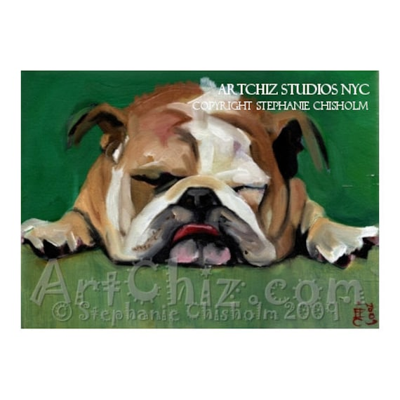 English Bull Dog Art. Rest for the Weary. English Bulldog Art. BullDog. Mascot. University. College. Dog Art. Magnet