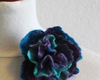 Blue and Purple Felt Brooch