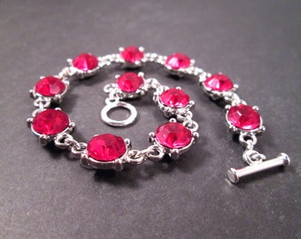 Rhinestone Bracelet, Victorian Grace, Berry Pink and Silver Beaded Bracelet, FREE Shipping U.S.