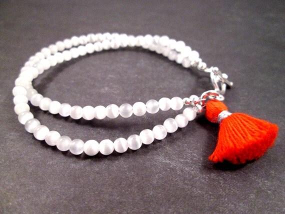 Tassel Bracelet, Red Orange Cotton Charm, White Double Strand Bracelet, Cat's Eye Glass Beads, Silver Beaded Bracelet, FREE Shipping U.S.