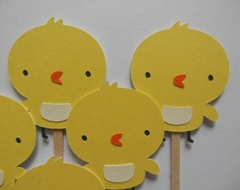 Chick Cupcake Toppers - Yellow - Child Birthday Party Decorations - Gender Neutral Baby Showers - Set of 6