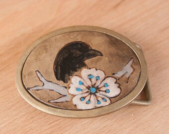Belt Buckle - Bronze Belt Buckle - Crow - Blackbird - Raven - Bird Belt Buckle in Black, white and antique black - Handmade Belt buckle