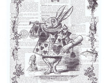 Alice in Wonderland,White Rabbit.Hare.Hearts.Antique French Book Page.art,buy 3 get 1 FREE,home deco.bunny.classic.mixed media.child.trumpet