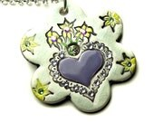Sacred Heart in a Flower Shape Sparkle Surly Necklace with Swarovski Crystals