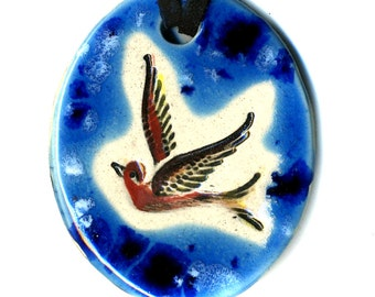 Bird Ceramic Necklace in Blue