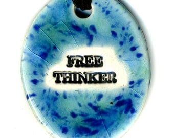 Free Thinker Ceramic Necklace in Blue and Green Crackle