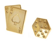 Rita gold plated die / dice and playing card earring studs. Great for gifting, gambling, casino and gambling lovers. Wear these for luck!
