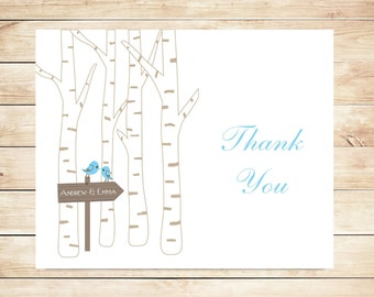 Birch Tree Thank You Cards - Fall, Winter Stationery