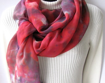 Rose- Hand dyed silk chiffon scarf for women, womens scarves Fashion Accessories ,Unique handmade gift for her under 50 mom mothers day
