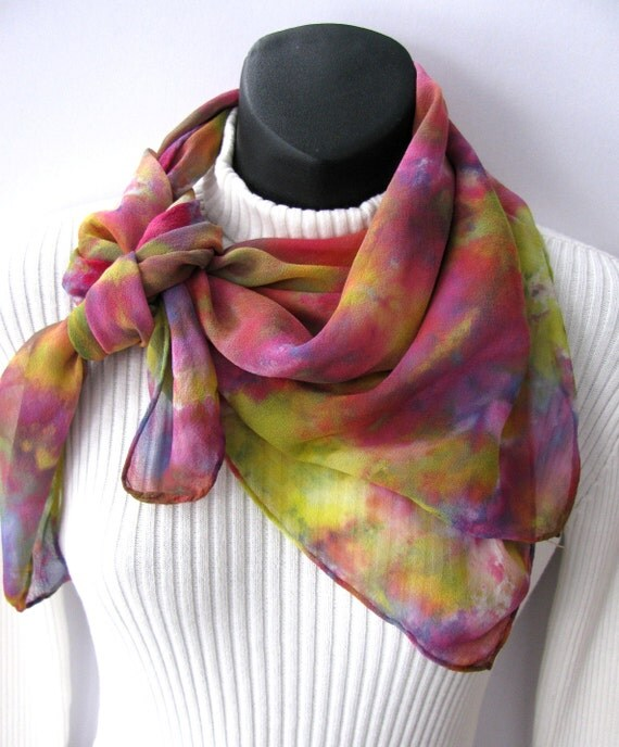 Silk Scarf Hand Dyed Silk Chiffon Womens Scarf Colorful Square Scarf Holiday Fashion Accessory Tutti Fruity Travel accessories clothing