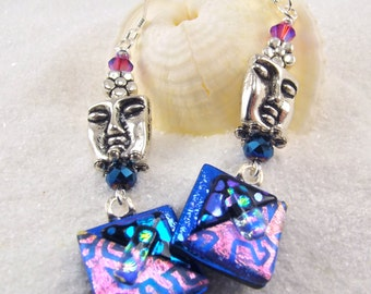 Made in the USA, bohemian earrings, unusual statement jewelry, blue pink earrings,face jewelry, handcrafted earrings, drop & dangle earrings