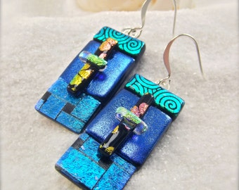 Dichroic glass, dichroic earrings, glass jewelry,dangly blue earrings,handmade in the USA,women's handcrafted earrings,unique, gifts for her