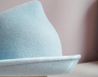 Fleur Delacour Hat Beauxbatons Inspired Hat Velour Fur Felt Hat Millinery Blue Tulip Hat Brim