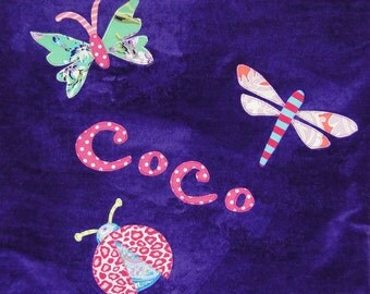 Personalized Large Purple Velour Beach Towel with Butterfly, Ladybug and Dragonfly, Kids Bath Towel, Pool Towel, Camp Towel, Bugs Towel