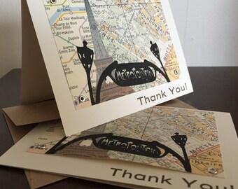 Paris Map Birthday Card - 6-Pack Screen-Printed Thank You Card