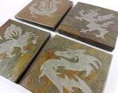 Stone Coasters: Dragon Coasters - 4 Etched Slate Coasters, Gryphon Coasters, Fantasy Decor, Wizard Decor, Castle Decor Carved Stone Coasters