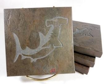 Stone Coasters: Hammerhead Shark Coasters - 4 Etched Slate Coasters, Carved Slate Coasters, Beach Coasters, Nautical Coasters, Drink Coaster