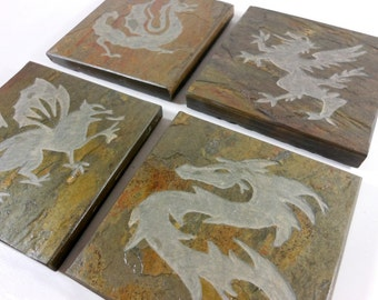 Stone Coasters: Dragon Coasters - 4 Etched Slate Coasters, Gryphon Coasters, Fantasy Decor, Wizard Decor, Castle Decor Carved Stone Coasters